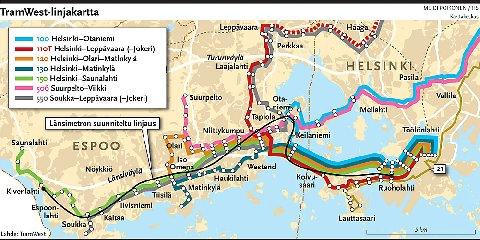 TramWest reittikartta
